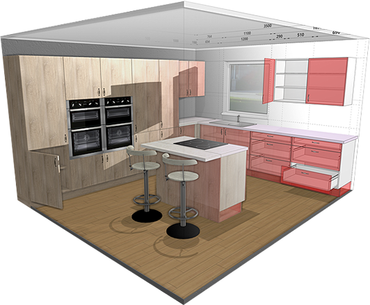 3d kitchen planner design a kitchen online free and easy. Black Bedroom Furniture Sets. Home Design Ideas