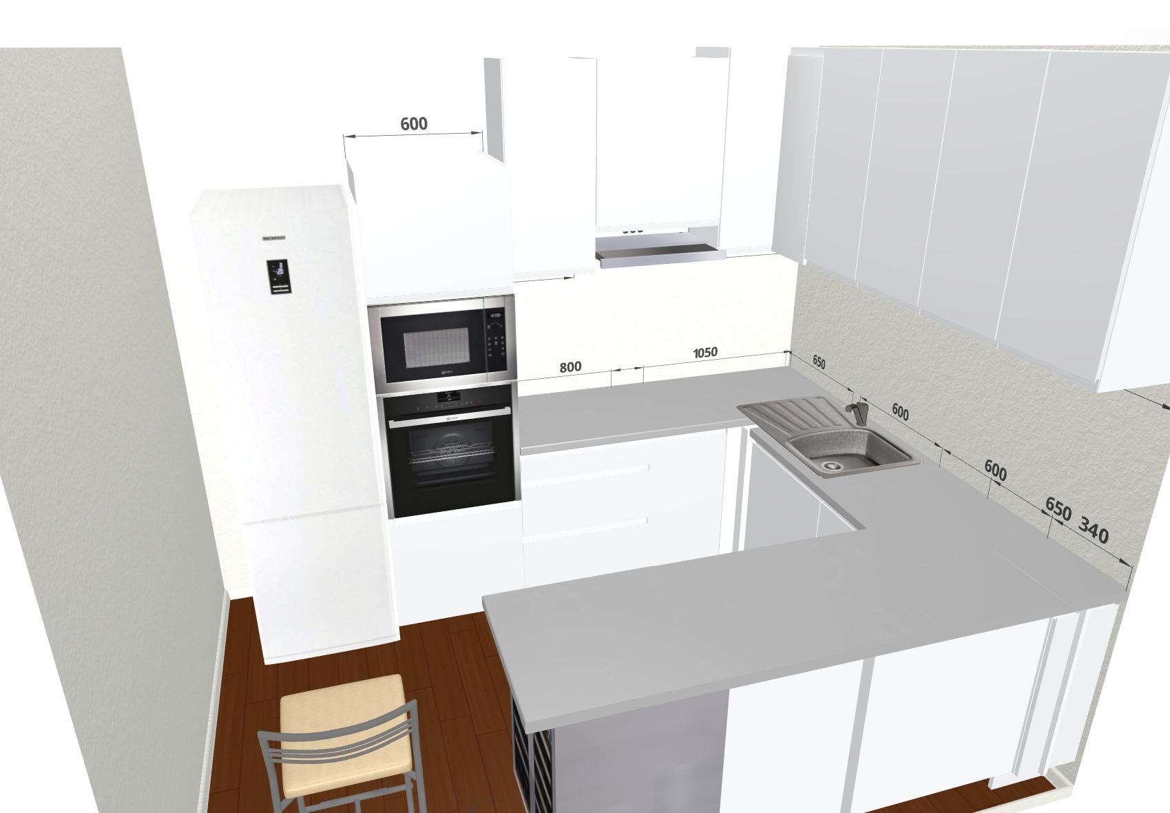 White Handleless   Small U Shaped Kitchen   3D Kitchen Planner
