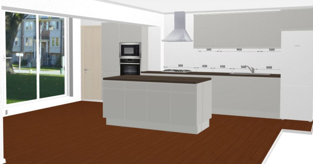 Gloss Cashmere Handleless Kitchen - 3D Kitchen Planner
