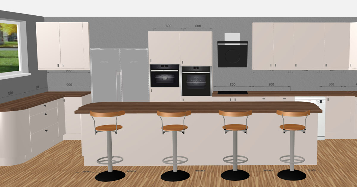 Matt Cashmere Slab Kitchen   3D Kitchen Planner